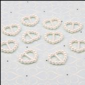 The Hobby House - Ivory Pearl Ribbon Sliders – Heart - HHRS018